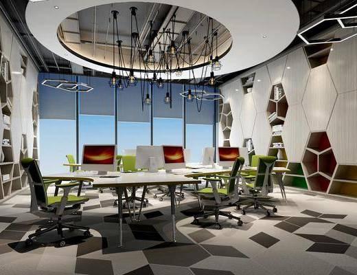 办公桌, 电脑桌, 地毯, 造型吊灯, 造型储物柜, 造型灯, 书籍摆件, 工业风