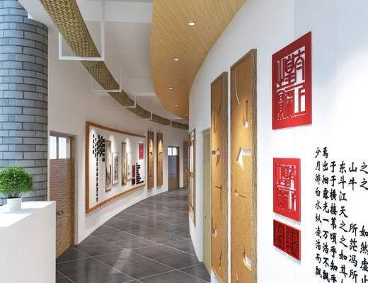 走廊, 墙饰, 大厅, 植物