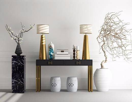 边柜, 边几, 台灯, 干树枝, 凳子, 花瓶, 花卉, 摆件, 北欧