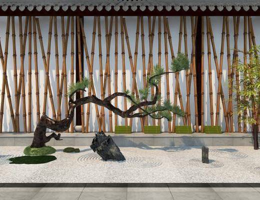 园艺小品, 新中式园艺小品, 石头, 假山, 植物, 绿植, 新中式