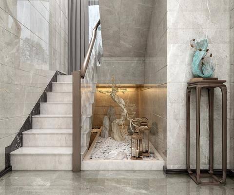 楼梯, 新中式楼梯, 摆件组合