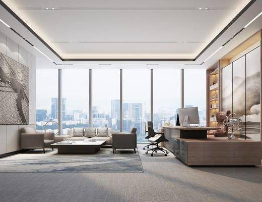 现代办公室, 办公桌, 单椅, 转角沙发, 茶几