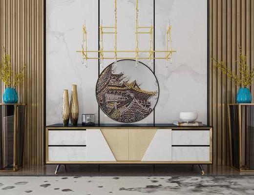 装饰柜, 电视柜, 新中式装饰柜, 新中式, 端景台, 边几组合, 花瓶花卉