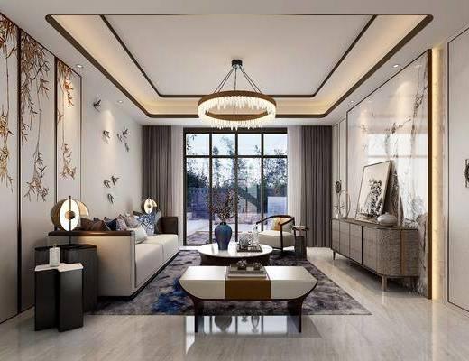 新中式客厅, 新中式客餐厅, 客餐厅, 中式客厅, 中式客餐厅, 客厅, 餐厅