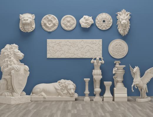 欧式罗马柱, 飞马雕花, 角线, 石膏构件, 狮子
