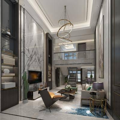 客廳, 餐廳, 沙發組合, 沙發茶幾組合, 餐桌椅組合, 樓梯, 酒柜組合, 現代