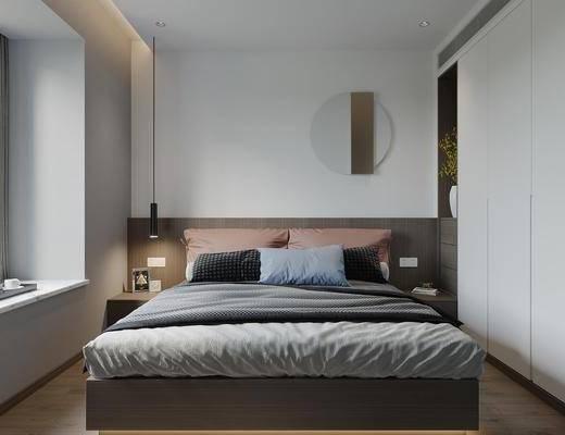 现代卧室, 双人床, 床头柜