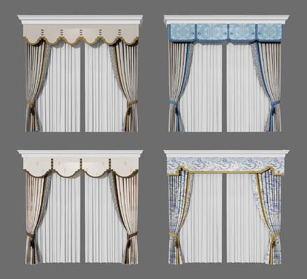 新中式, 窗帘, 组合