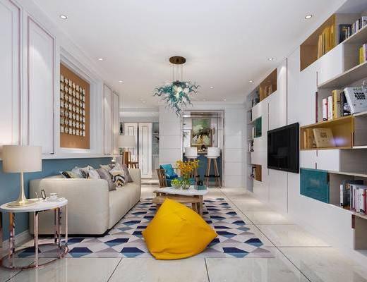 客厅, 沙发组合, 沙发茶几组合, 北欧沙发, 现代沙发, 茶几