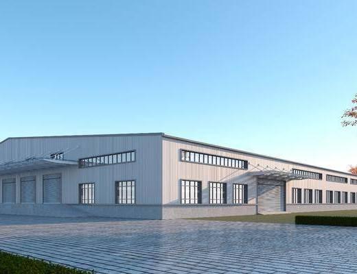 双坡顶, 厂房, 工业区, 工厂, 彩钢板