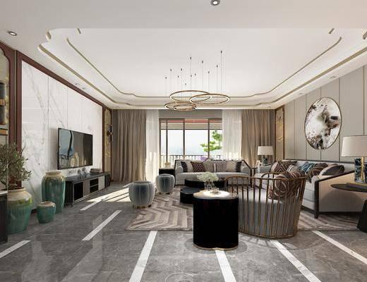 客厅, 多人沙发, 茶几, 边几, 台灯, 单人沙发, 圆框画, 装饰画, 凳子, 墙饰, 花瓶, 绿植植物, 吊灯, 新中式