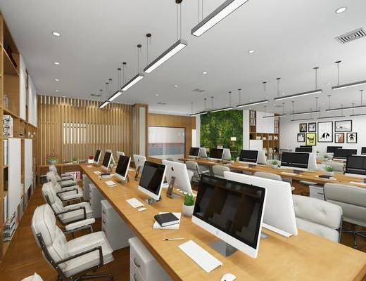 办公区, 桌子, 办公桌, 电脑, 单人椅, 办公椅, 装饰画, 挂画, 装饰架, 摆件, 装饰品, 陈设品, 吊灯, 现代