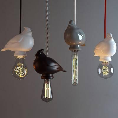 吊灯, 小鸟灯, 灯具, 灯, 灯泡