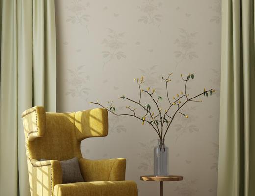 美式, 圆几, 单椅, 装饰花瓶