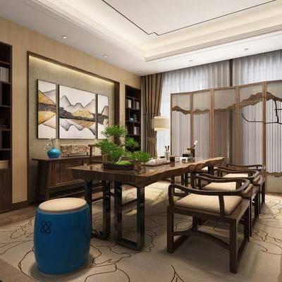 新中式茶室, 新中式, 茶室, 书房, 中式桌椅, 中式椅子, 装饰画, 装饰柜, 凳子