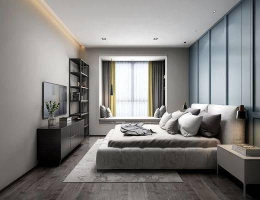 卧室, 双人床, 床头柜, 吊灯, 电视柜, 装饰柜, 装饰架, 边柜, 摆件, 装饰品, 陈设品, 北欧