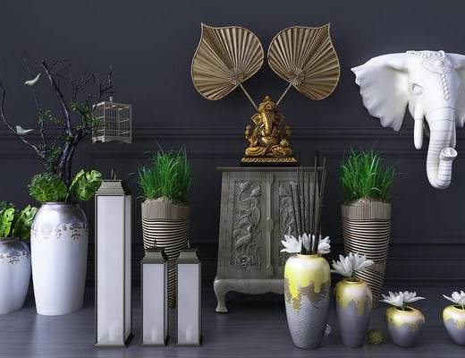东南亚, 花瓶, 花卉, 植物, 雕像, 雕塑, 瓷器, 摆件, 装饰品, 石柱