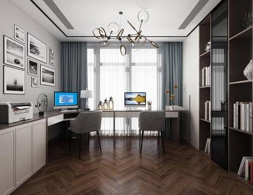 现代书房, 吊灯, 书桌椅, 台灯, 摆件