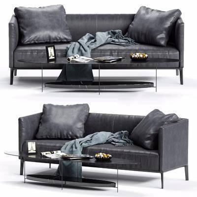 现代双人皮革沙发, 现代, 沙发, 皮沙发, 茶几, 摆件
