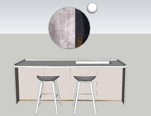挂画, 壁镜, 吧椅, 吧台