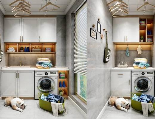 现代阳台, 洗衣机, 衣服, 柜子, 衣架, 毛巾