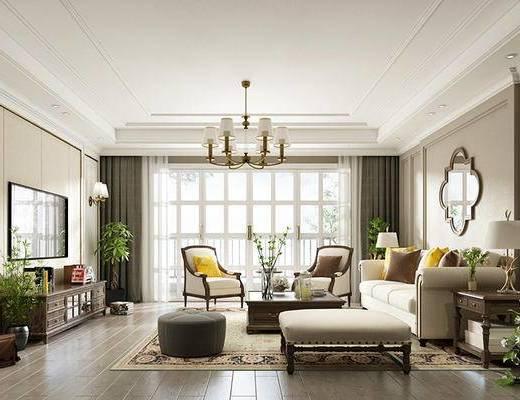 美式简约, 美式客厅, 简约客厅·, 客厅, 下得乐3888套模型合辑