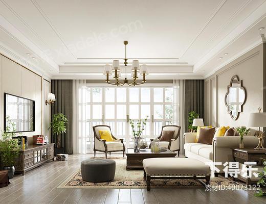 美式简约, 美式客厅, 简约客厅·, 客厅