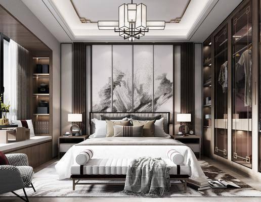 电视柜, 背景墙, 吊灯, 双人床, 衣柜, 床头柜, 床尾踏, 单椅