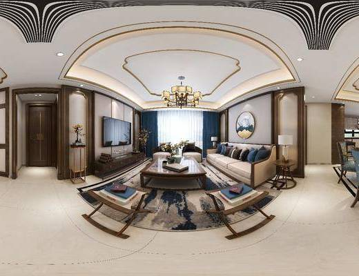 新中式, 客厅, 多人沙发, 单人沙发, 凳子, 电视柜, 装饰品, 挂画, 吊灯, 茶几, 边几, 台灯, 餐桌椅
