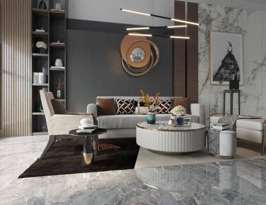 沙發組合, 茶幾, 擺件組合, 吊燈, 墻飾, 裝飾畫, 單椅