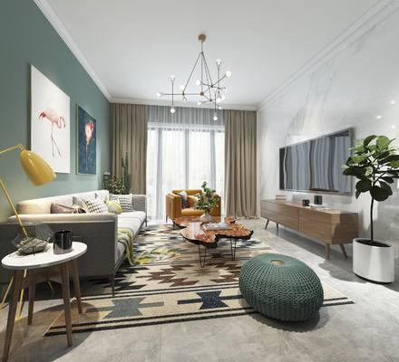 北欧客厅, 客厅, 沙发, 茶几, 电视柜, 北欧装饰画, 绿植