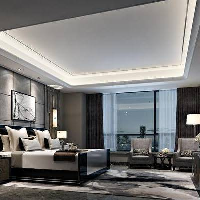现代, 后现代, 床, 床头柜, 壁灯, 台灯, 边几, 单人沙发, 电视柜, 酒店, 客房
