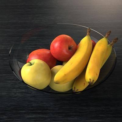 水果, 苹果, 香蕉, 玻璃碗, 玻璃器皿, 水果盘