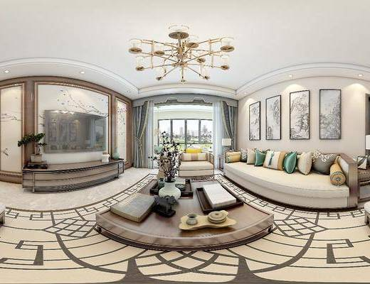 新中式客餐厅, 新中式, 新中式客厅, 新中式餐厅, 吊灯, 电视柜, 沙发