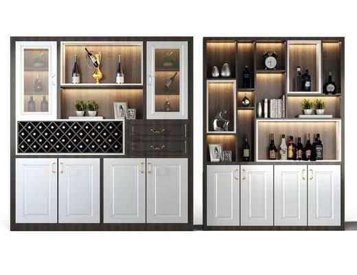 酒柜, 装饰柜, 酒瓶, 摆件, 装饰品, 陈设品, 现代
