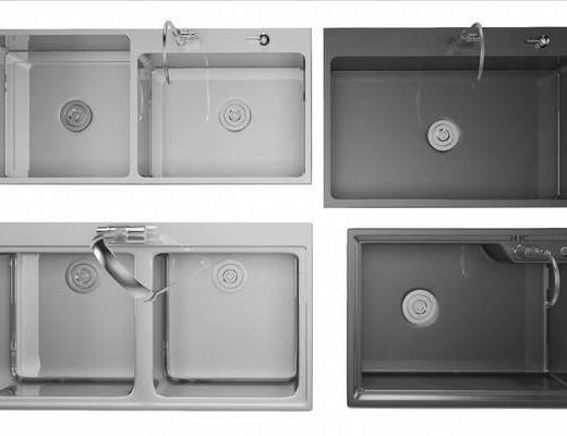 现代, 水槽, 洗手盆, 组合