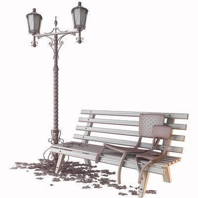 户外路灯, 长椅