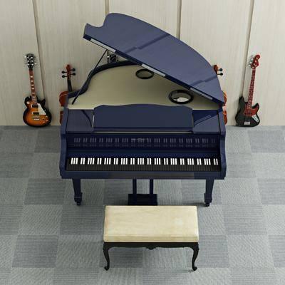 鋼琴吉他, 樂具音樂, 凳子, 音樂樂器, 現代