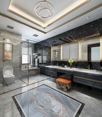 现代卫浴, 现代卫生间, 洗手台, 浴室, 椅子, 镜子, 马桶