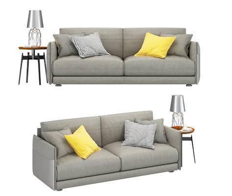 双人沙发, 边几, 台灯, 沙发, 布艺沙发