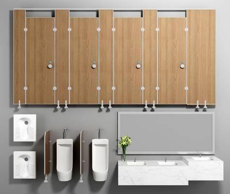 隔断洁具, 洁具组合, 马桶, 便池, 洗手台, 现代