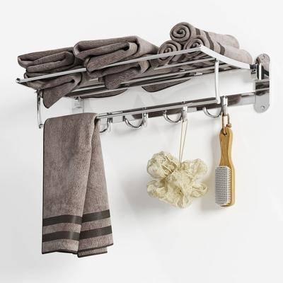 现代浴室浴架毛巾洗澡刷卫浴用品组合, 毛巾架, 毛巾, 刷子, 沐浴球