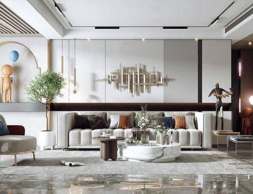 现代轻奢客厅, 多人沙发, 边几, 墙饰, 地毯