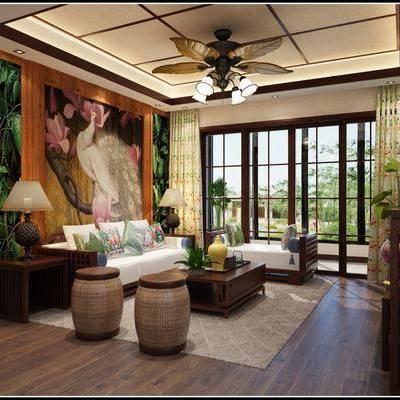 客厅, 吊灯, 沙发, 多人沙发, 贵妃椅, 台灯, 茶几, 地毯, 凳子, 东南亚