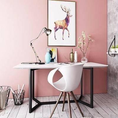 书桌, 单人椅, 摆件, 装饰画, 北欧