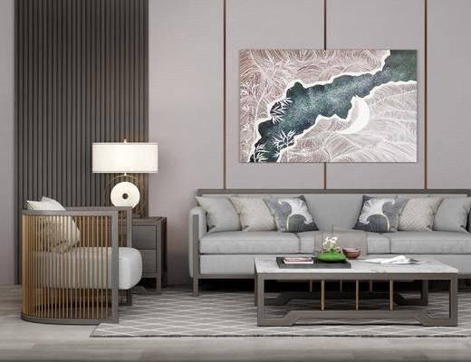 沙发组合, 多人沙发, 茶几, 单人沙发, 边几, 台灯, 装饰画, 挂画, 新中式