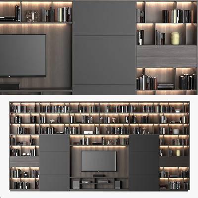 电视柜, 电视机, 书柜, 装饰柜, 书籍, 音响, 瓷器, 摆件, 现代电视柜电视机音响书籍瓷器摆件组合