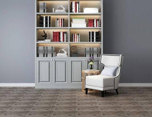 书柜组合, 书籍, 摆件组合, 现代