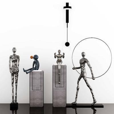 现代抽象金属人物雕塑