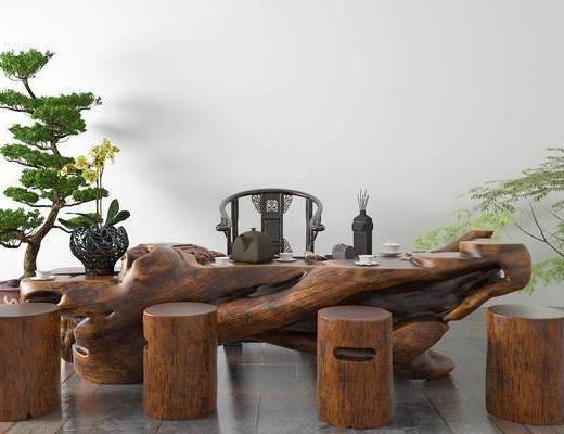 根雕茶海, 茶桌, 茶具组合, 植物
